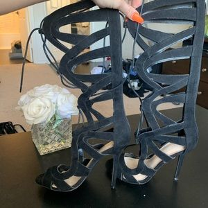 Strappy boot heels